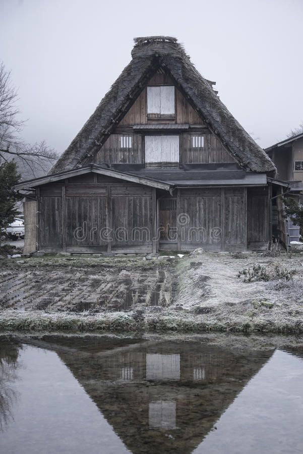 Fog and clouds in The Historic Villages of Shirakawa (Shirakawa-go). royalty free stock image