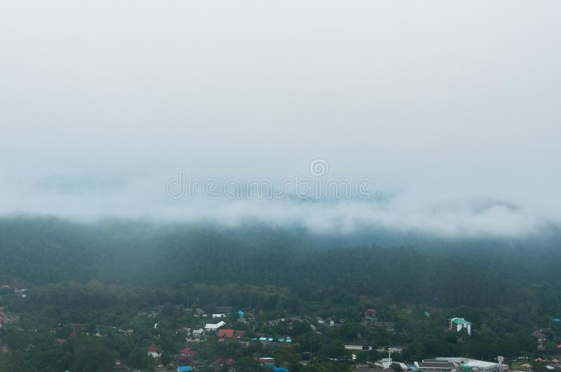 Fog cover the mountain royalty free stock photography