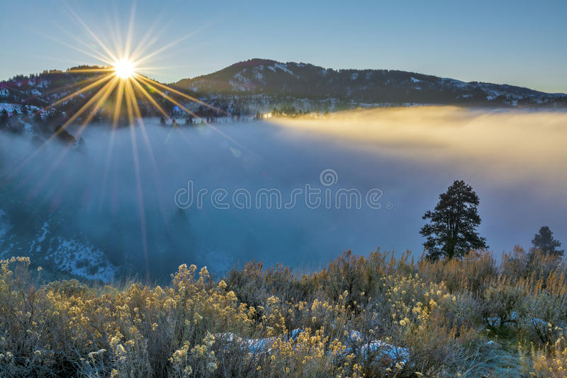 Fog coveres Boise Idaho during an inversion. Fog inversion in an Idaho valley royalty free stock photo