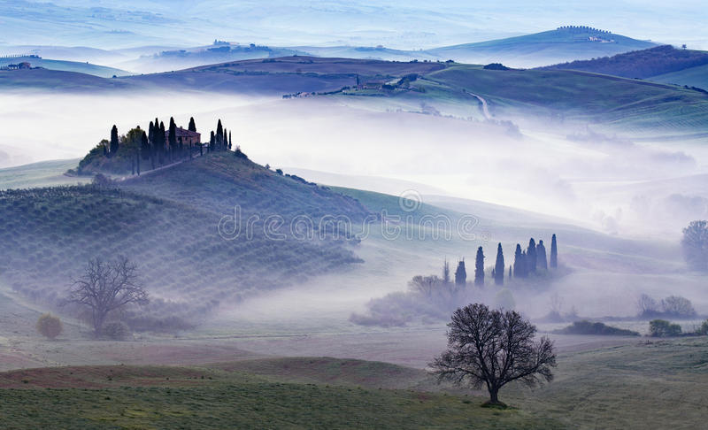 Fog at dawn in a green valley in Tuscany. Panoramic view of fog at dawn in the green valley stock photography