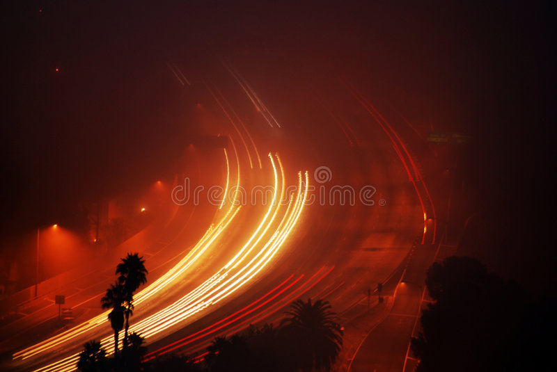 Fog driven Freeway stock photography