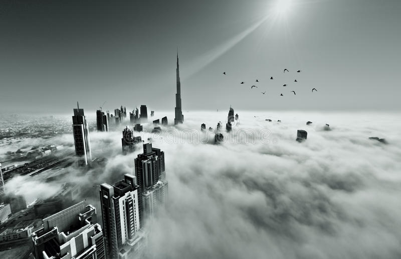 Fog in Dubai stock images