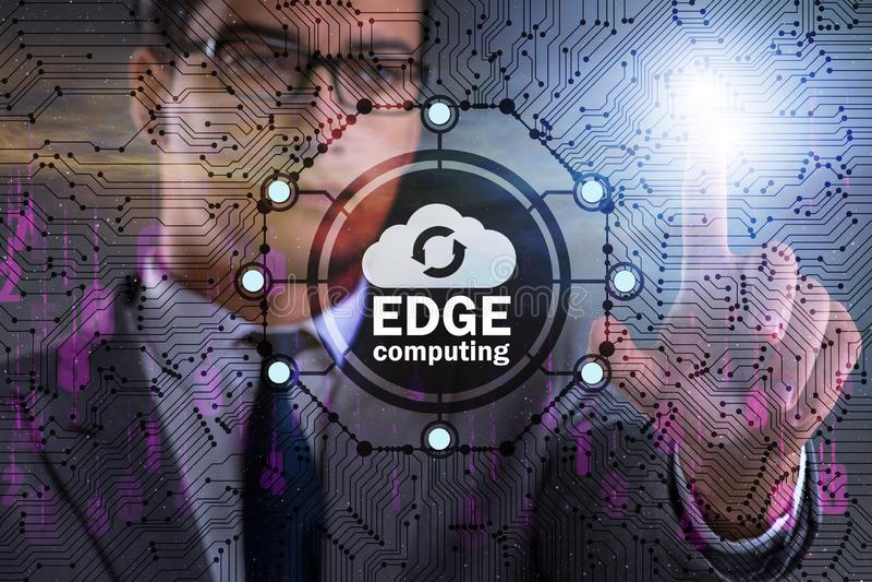 Fog and edge cloud computing concept. The fog and edge cloud computing concept royalty free stock photos