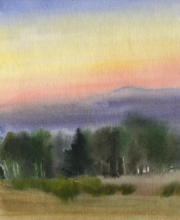 Fog on the field near the forest after sunset. Late summer. Watercolor landscape.  stock illustration
