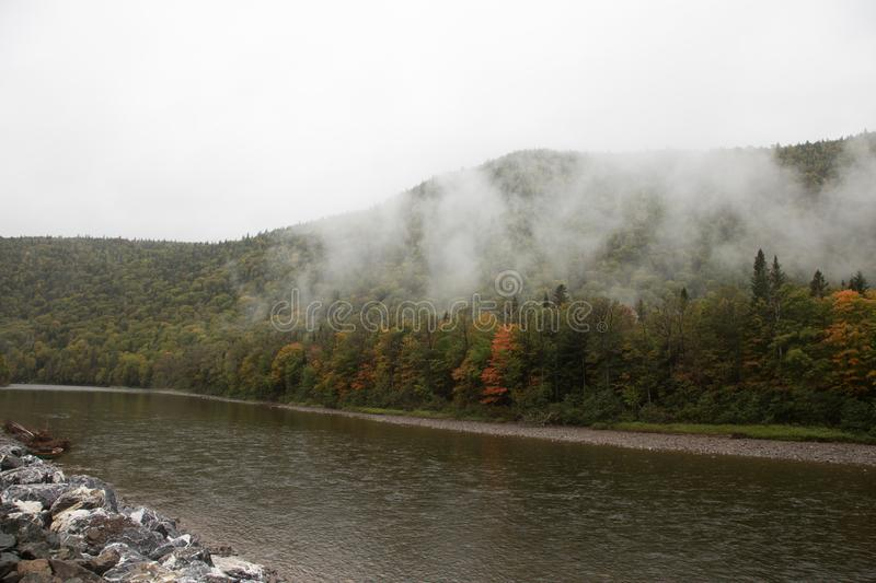 Fog on gaspe Quebec. Fog in the morning in gaspe Quebec royalty free stock images