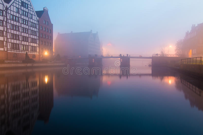 Fog in Gdansk city. Gdansk city in poland. Photo taken 09 of November 2014. Lots of fog at evening evening makes magic atmosphere stock photography