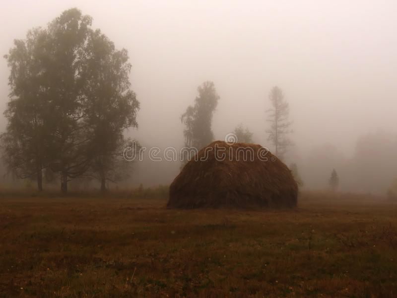 Fog and a haystack stock images
