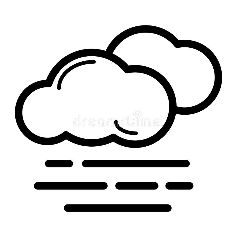 Foggy Weather Symbol : Fog icon vector solid logo pictogram isolated on white