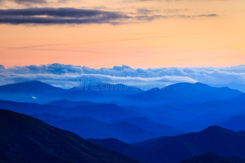 Fog Layers Blue Ridges Mountains North Carolina stock images