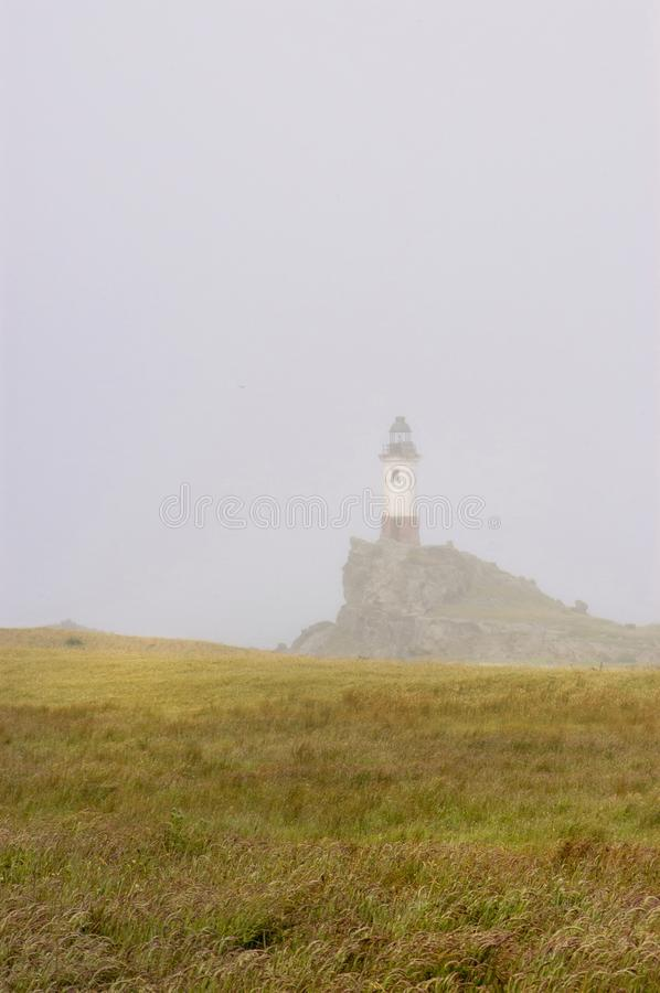 Fog in the lighthouse stock image
