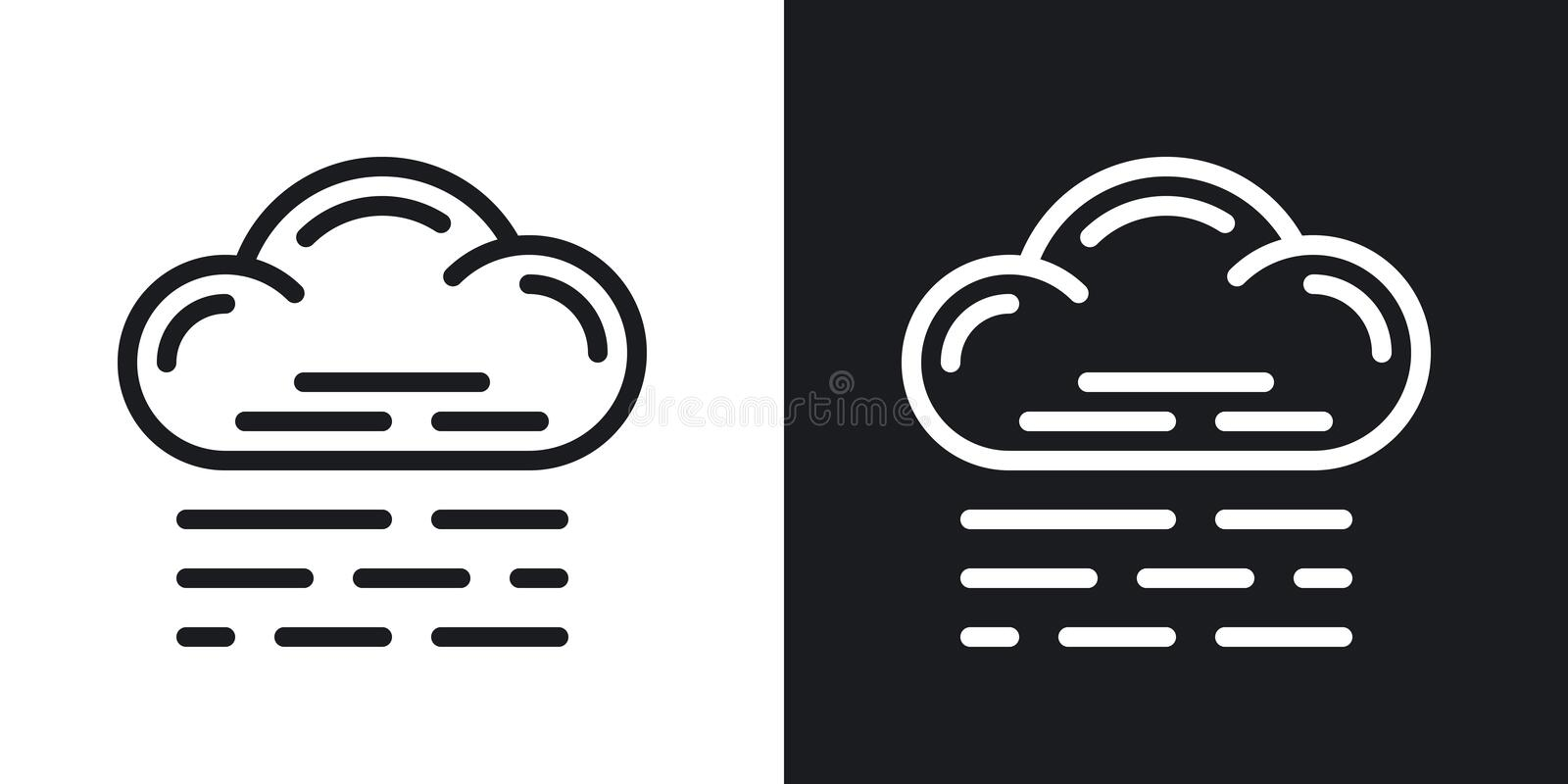 Fog, mist or haze icon for weather forecast application or widget. Two-tone version on black and white background. Fog, mist or haze icon for weather forecast royalty free illustration