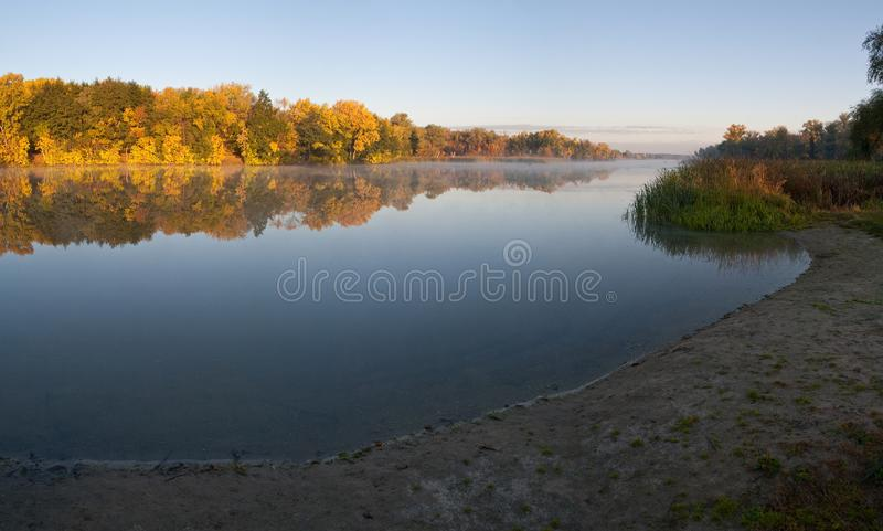 Download Fog Morning On The Lake stock photo. Image of sand, calm - 14248136