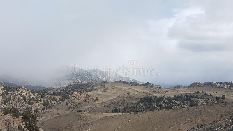 Fog on the mountains stock photos