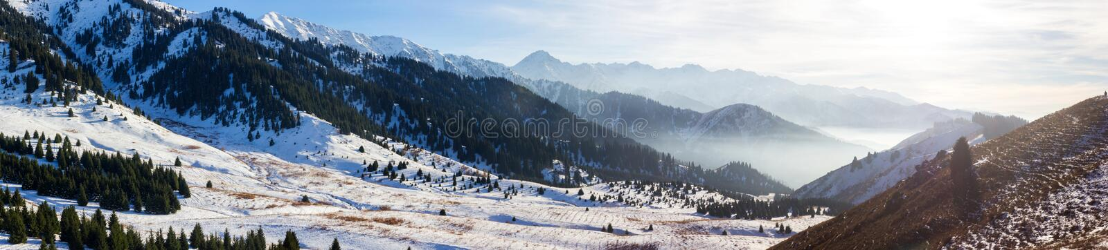 Fog in the mountains stock images