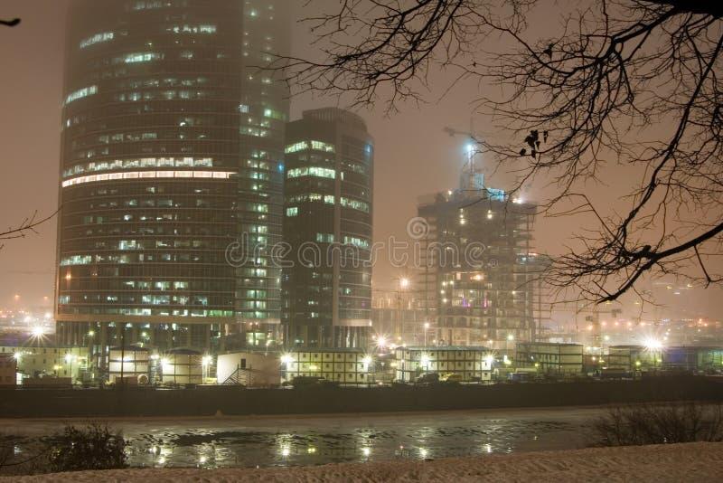 Fog at night city stock photos