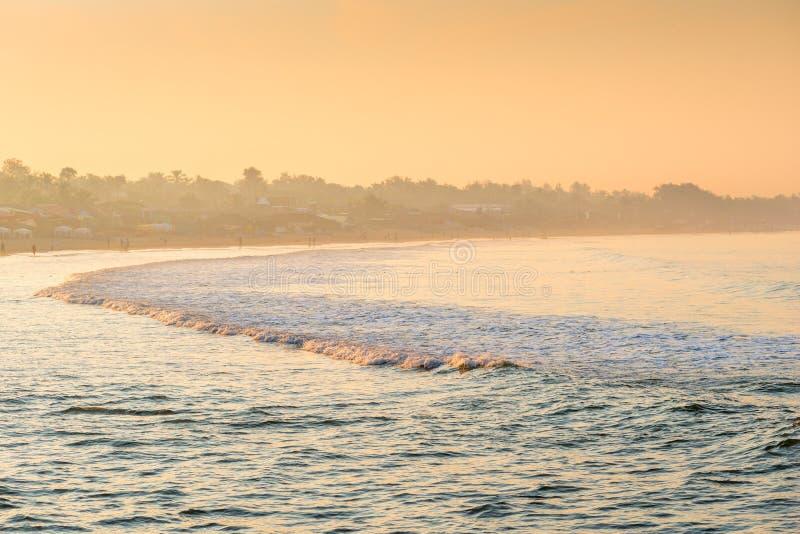 Fog oceanfront in the rays of rising sun. Fog oceanfront in the rays of the rising sun stock photos