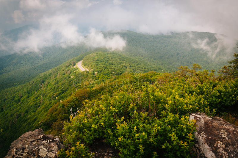 Fog over the Blue Ridge Mountains, seen from Little Stony Man Cl stock image