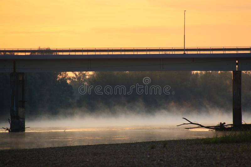 Fog over the Drava River royalty free stock images