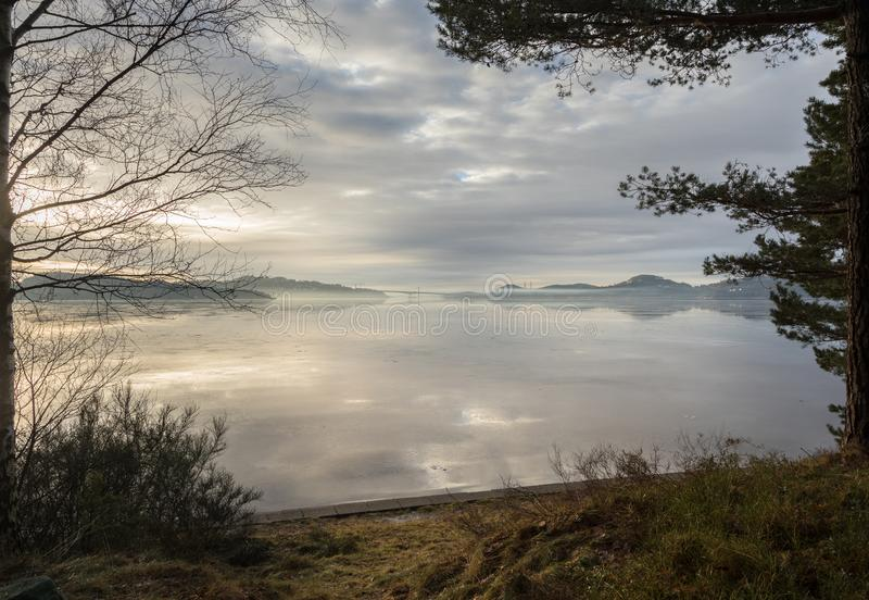 Fog over the fjord in Kristiansand, with trees and grass in front royalty free stock photo