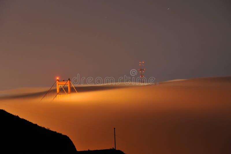 Fog over Golden Gate Bridge stock images