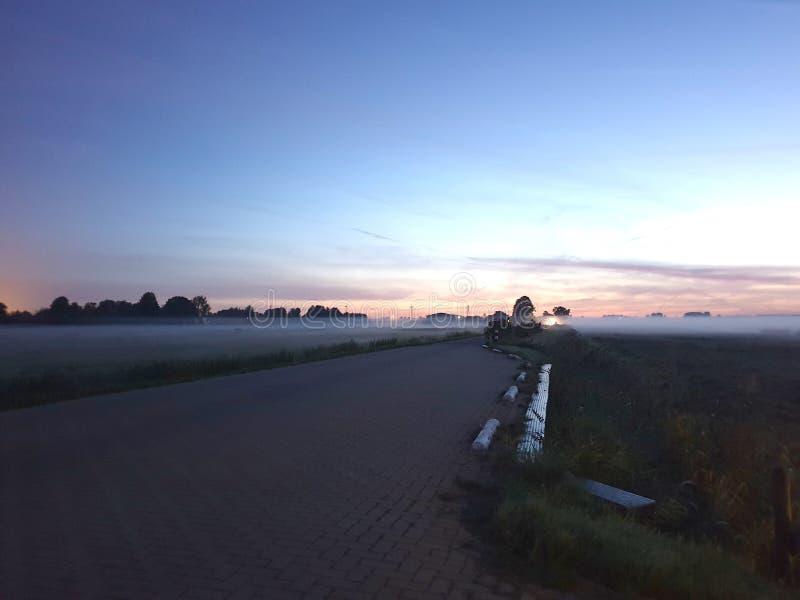 Fog over the meadows during sunrise in the Zuidplaspolder in Zevenhuizen the Netherlands. stock photos