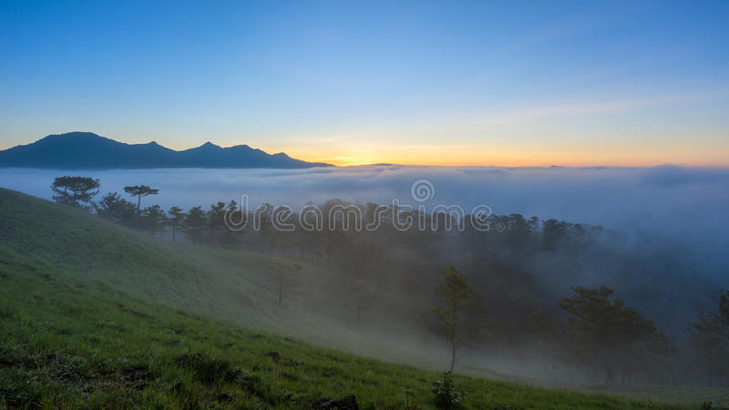 Fog over mountain and forest on sunrise at Da Lat, Vietnam.  royalty free stock photos