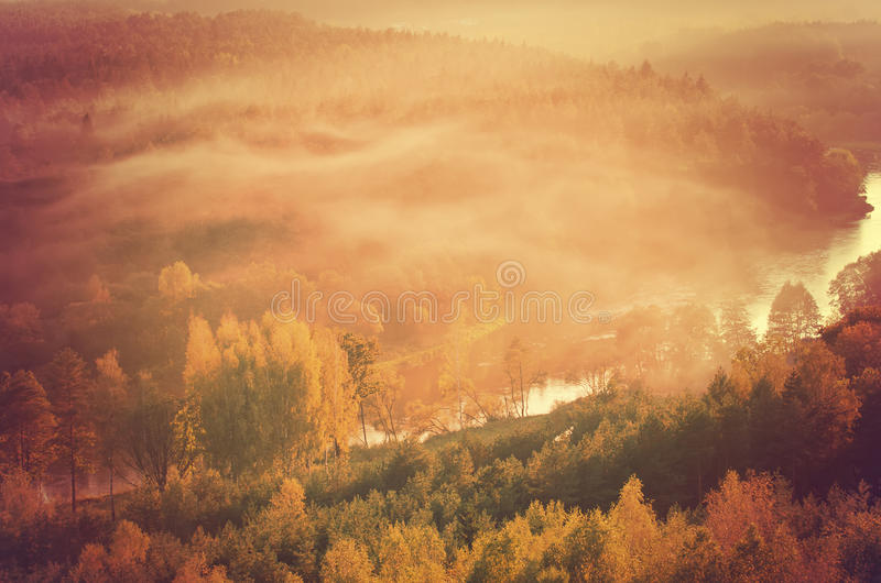 Fog over Neris river in Lithuania. Next to Vilnius City royalty free stock images