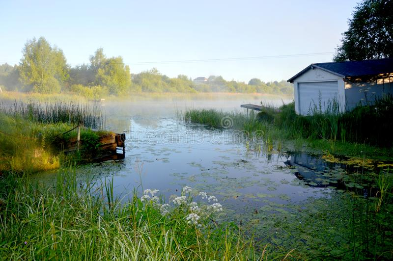 Fog over the river royalty free stock photos