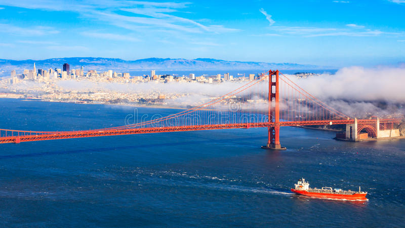 Fog over San Francisco stock photos