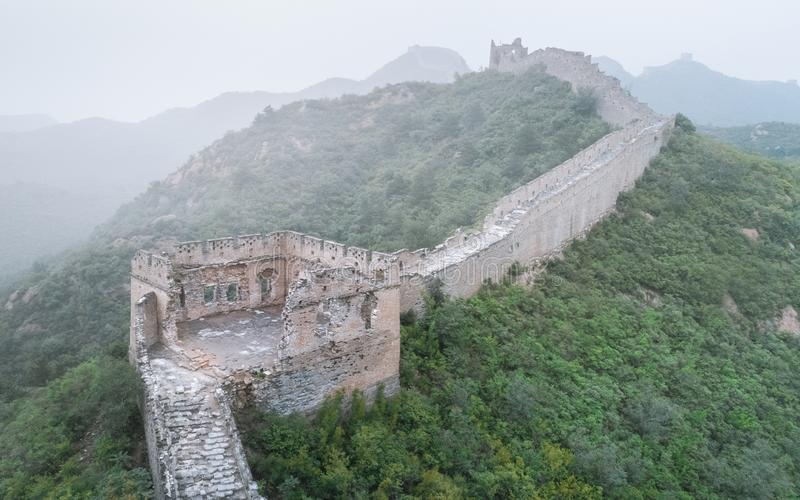Fog painted scenery of Great Wall, Morning,China-East Asia. The Great Wall,the most representative part of the Chinese brick-made dragon, has been stock images