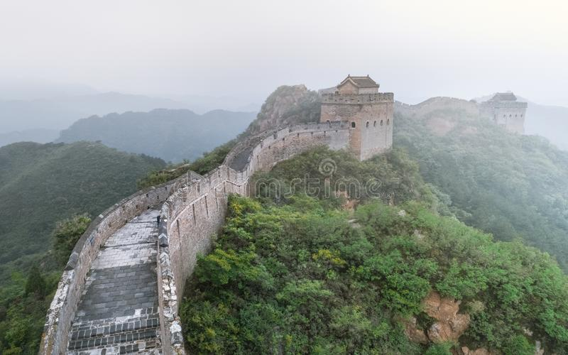 Fog painted scenery of Great Wall, Morning,China-East Asia. The Great Wall,the most representative part of the Chinese brick-made dragon, has been stock photography