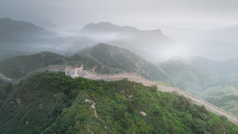 Fog painted scenery of Great Wall, Morning,China-East Asia. The Great Wall,the most representative part of the Chinese brick-made dragon, has been stock photo