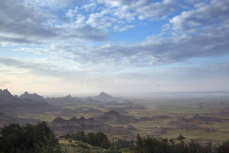 Fog Rises in the Early Morning at Cliff Shelf Nature Trail, Badlands, South Dakota royalty free stock images