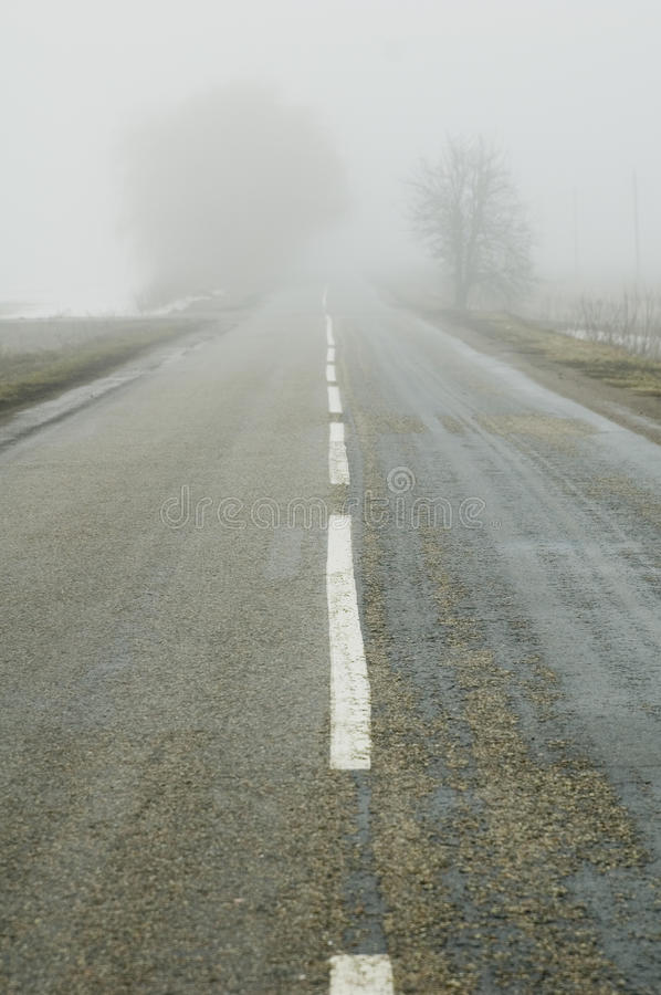 Fog in the road royalty free stock image