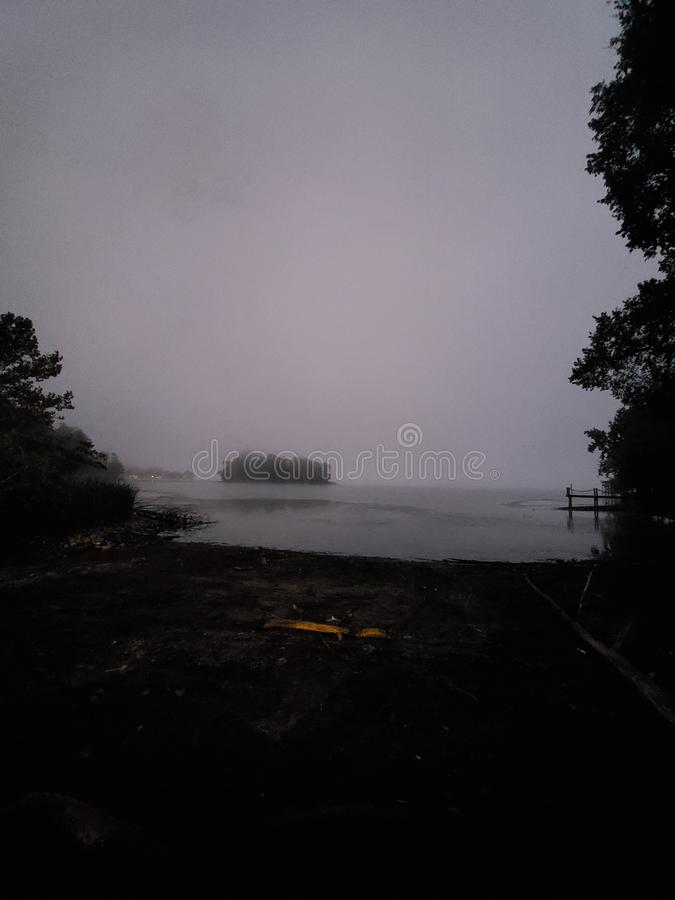 Fog scary morning haunted lake scary water early morning fishing stock photos