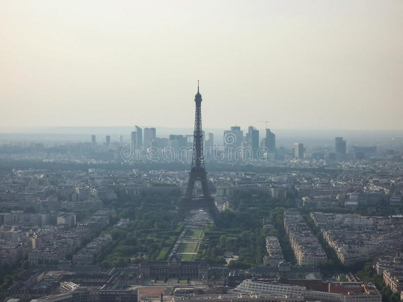 Paris, France-August 06, 2009: fog smog over Paris. extraordinary aerial view of the Eiffel tower stock images