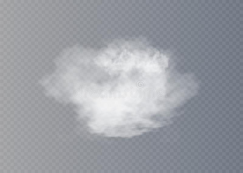 Fog or smoke isolated transparent special effect. White cloudiness, mist or smog background. stock illustration