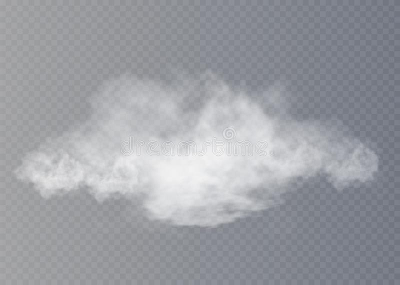 Fog or smoke isolated transparent special effect. White cloudiness, mist or smog background. royalty free illustration