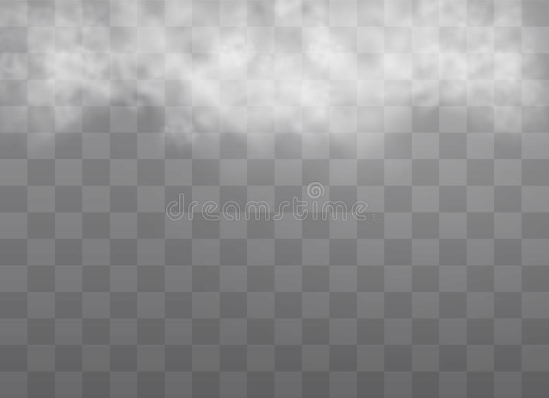 Fog or smoke. Transparent special effect stands out with fog or smoke. White cloud vector, fog or smog. Vector illustration. White gradient on a transparent vector illustration