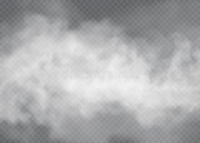 Fog or smoke transparent special effect. White cloudiness, mist or smog background. Vector illustration royalty free illustration