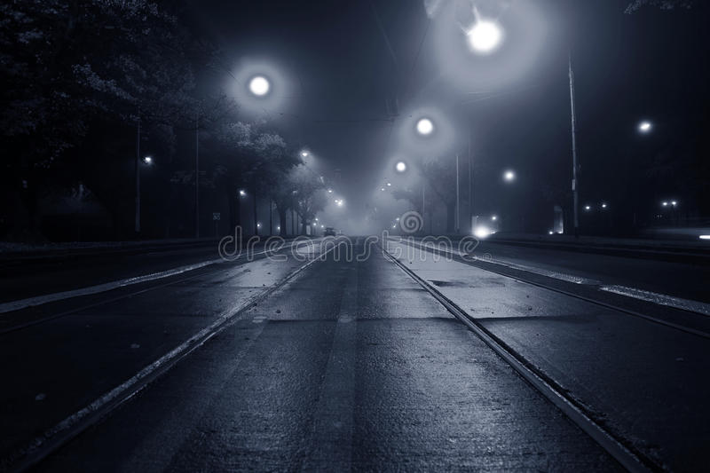 Fog on the street at night royalty free stock image