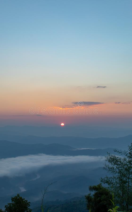 Fog and sun Morning after mountain at Phu Soi Dao National Park. royalty free stock images
