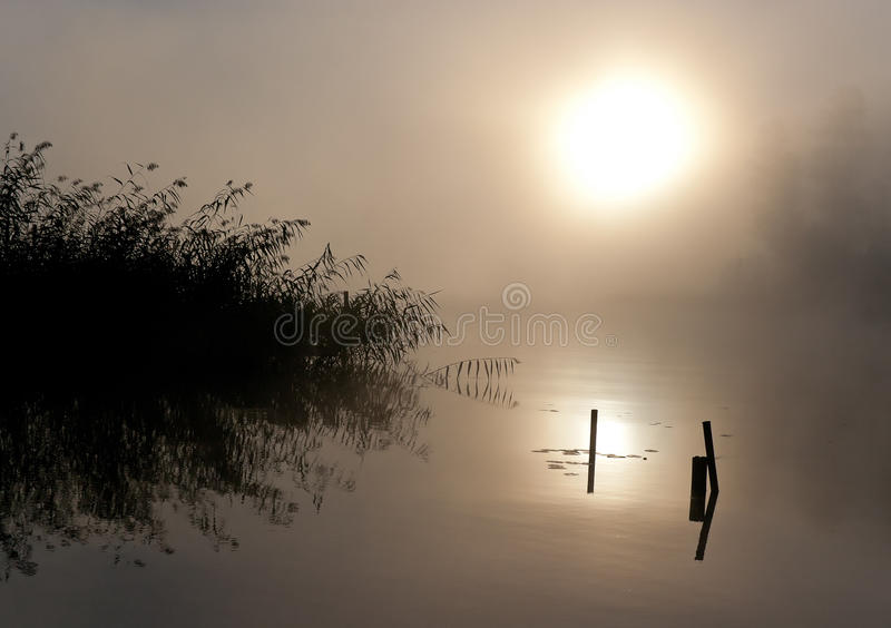 Lake Seliger: Fog Sun Water royalty free stock photography