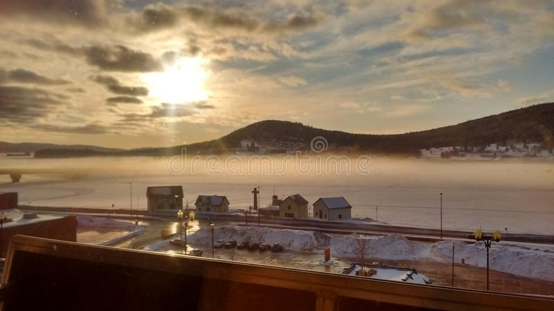Gaspe sunrise. Fog sunrise gaspe royalty free stock photography