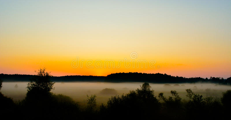 Fog at sunset royalty free stock image
