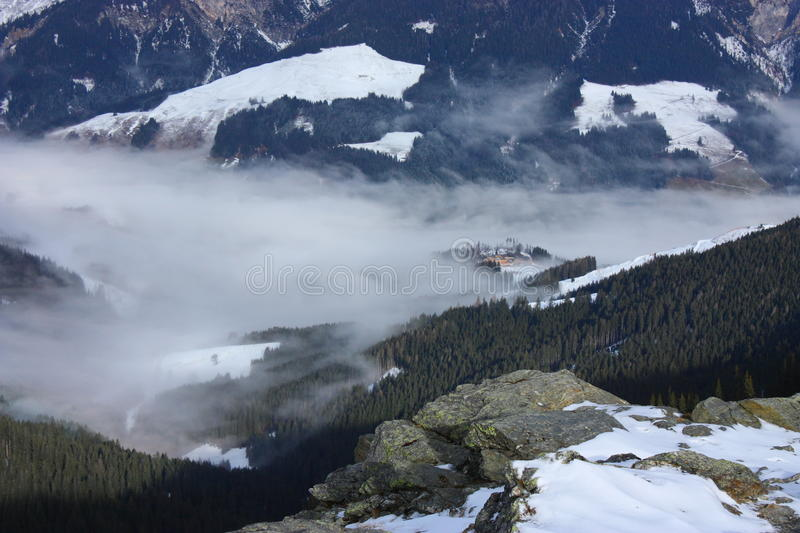 Fog in a valley royalty free stock photography
