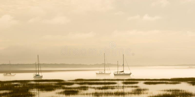 Fog on water stock photo