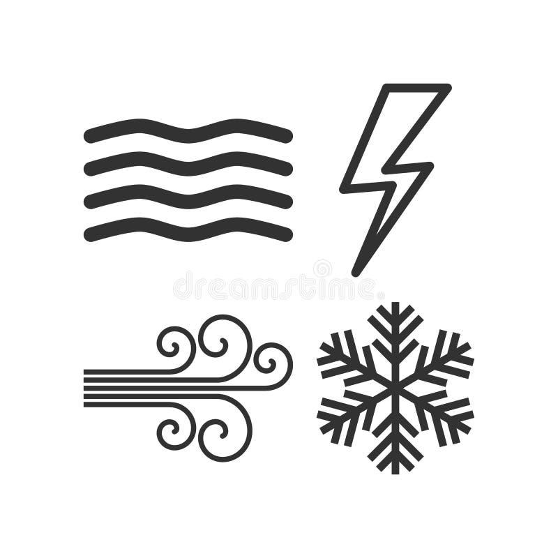 Fog, Wind, Thunder, Snowflake Outline Icons stock illustration