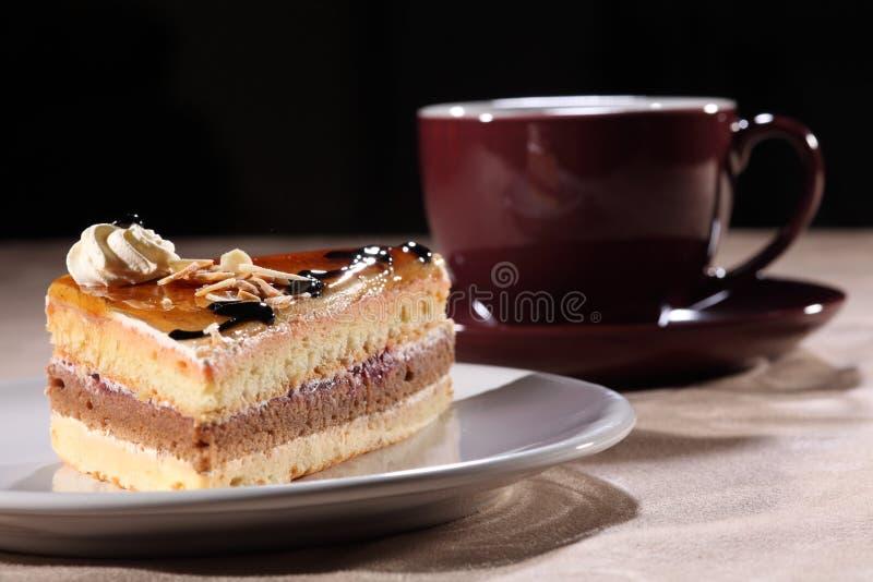 Foggi a coppa il caffè e la torta con la guarnizione della salsa di cioccolato fotografia stock libera da diritti