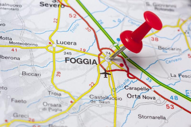Foggia Włochy Na mapie zdjęcie royalty free
